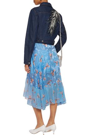 EMILIO PUCCI Cropped embroidered denim jacket