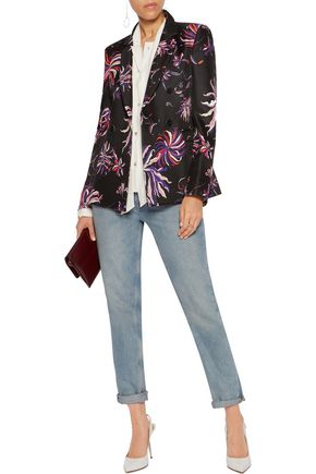 EMILIO PUCCI Double-breasted printed wool and silk-blend blazer