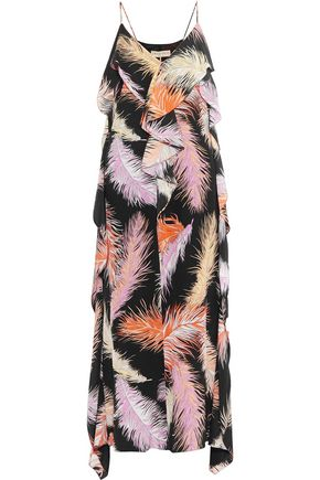 EMILIO PUCCI Ruffled printed silk-crepe maxi dress