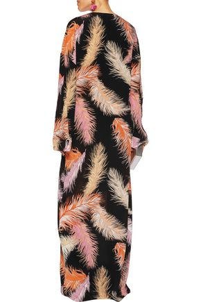 EMILIO PUCCI Gathered printed silk-chiffon maxi dress