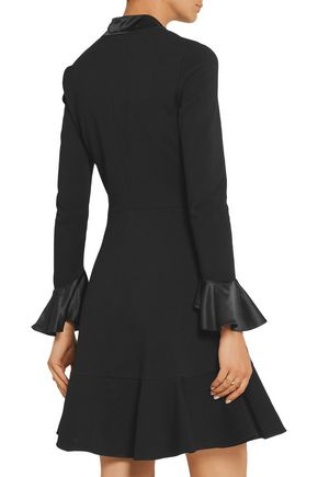 EMILIO PUCCI Pussy-bow silk satin-trimmed stretch-crepe dress