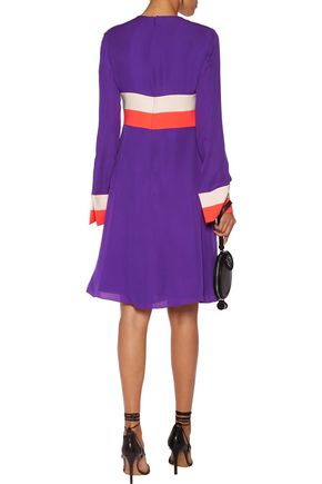 EMILIO PUCCI Color-block silk-blend crepe dress