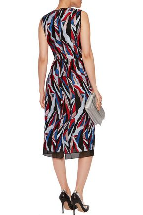 EMILIO PUCCI Paneled embroidered mesh dress