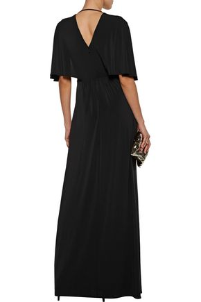 HALSTON HERITAGE Embellished pleated stretch-jersey gown