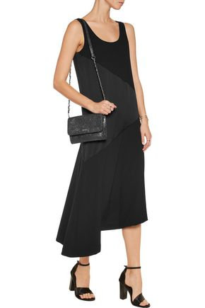 DKNY Asymmetric satin and crepe midi dress