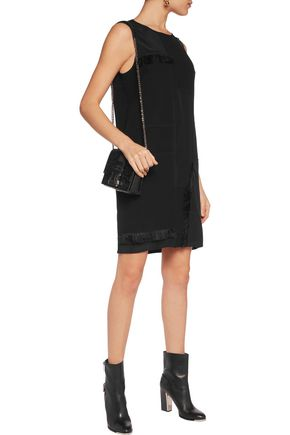 DKNY Fringed patchwork stretch-silk crepe de chine and crepe mini dress