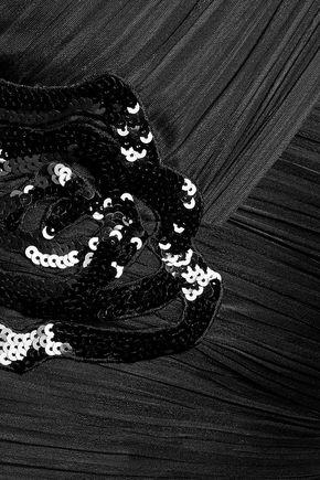 HALSTON HERITAGE Embellished ruched plissé stretch-satin dress