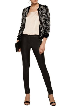 W118 by WALTER BAKER Lionel embellished embroidered satin bomber jacket