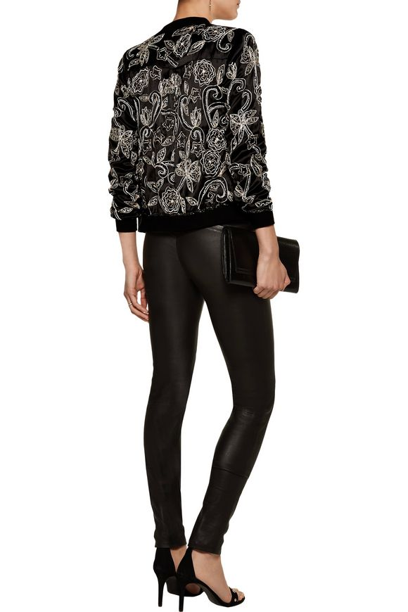 Lionel embellished embroidered satin bomber jacket | W118 by WALTER BAKER |  Sale up to 70% off | THE OUTNET