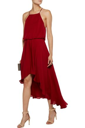 HAUTE HIPPIE Asymmetric ruffled silk crepe de chine dress