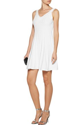 MILLY Textured stretch-knit mini dress