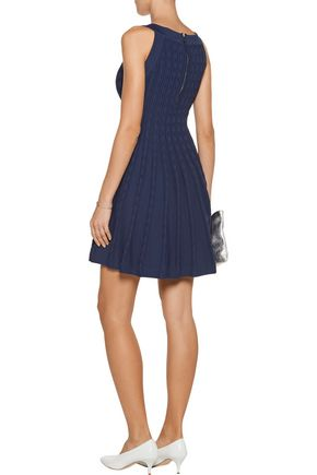 MILLY Textured stretch-knit mini dress