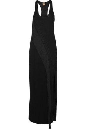 HAUTE HIPPIE Fringed crochet knit-trimmed stretch-jersey maxi dress