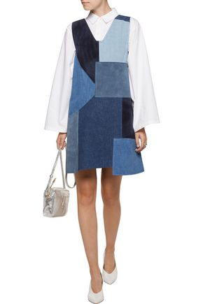M.I.H JEANS Marten patchwork denim and suede mini dress