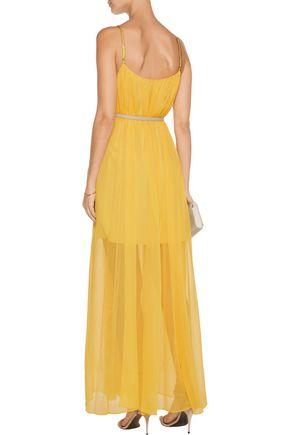 HALSTON HERITAGE Belted pleated chiffon maxi dress