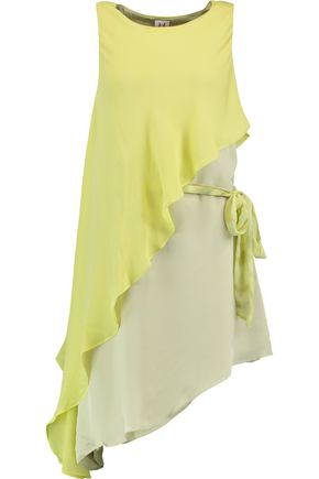 HALSTON HERITAGE Layered silk mini dress