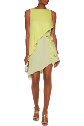 HALSTON HERITAGE Layered silk mini dress