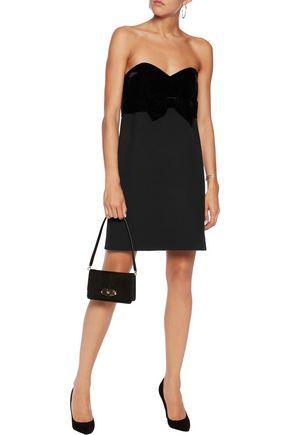 MAJE Strapless velvet and crepe mini dress