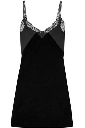 MAJE Lace and mesh-trimmed velvet mini dress