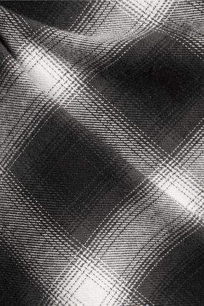 MAJE Lace-trimmed checked cotton mini dress