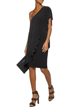 NORMA KAMALI One-shoulder ruffled stretch-jersey dress