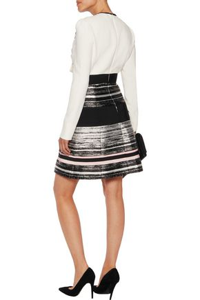 GIAMBATTISTA VALLI Draped crepe and embellished voile-paneled metallic jacquard mini dress