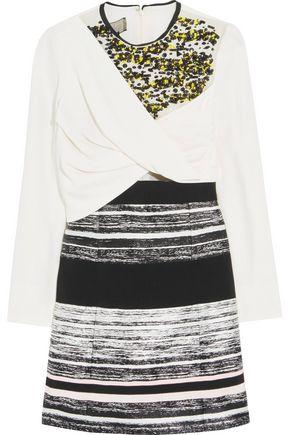 GIAMBATTISTA VALLI Draped crepe and embellished voile-paneled metallic jacquard mini dress