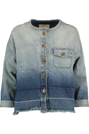 CURRENT/ELLIOTT Two-tone frayed denim jacket