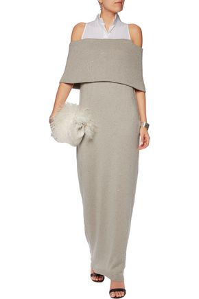 BRUNELLO CUCINELLI Layered poplin-paneled cashmere and silk-blend maxi dress