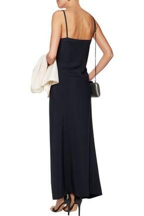 BRUNELLO CUCINELLI Asymmetric bead-embellished crepe maxi dress