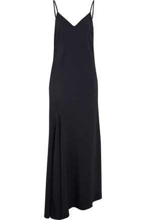 BRUNELLO CUCINELLI Asymmetric bead-embellished crepe maxi dress