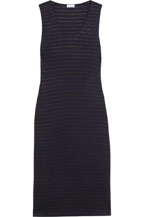 BRUNELLO CUCINELLI Metallic striped stretch wool-blend dress