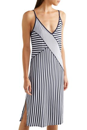 SPLENDID Paneled striped voile dress