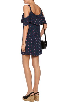 SPLENDID Cold-shoulder polka-dot crepe mini dress