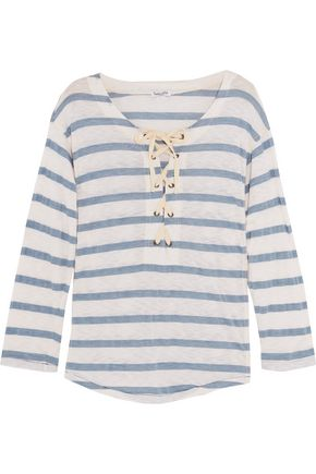 SPLENDID Lace-up striped jersey top