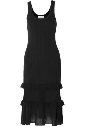 DEREK LAM 10 CROSBY Ruffled ribbed cotton-blend dress