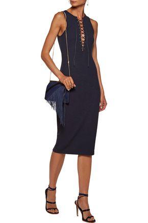 10 CROSBY DEREK LAM Lace-up ribbed-knit midi dress