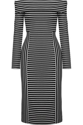10 CROSBY DEREK LAM Off-the-shoulder striped ponte midi dress