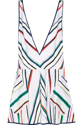 MILLY Metallic striped cotton-blend mini dress
