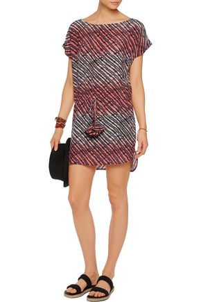 VIX Silvia printed washed-silk mini dress
