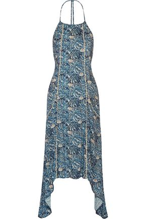 VIX Jakarta Cleo asymmetric printed gauze midi dress