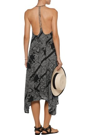 VIX Akash Cleo asymmetric printed linen-blend midi dress
