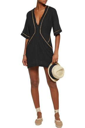 VIX Joanna embroidered linen-blend mini dress