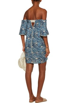 VIX Jakarta Cordon off-the-shoulder printed textured-gauze mini dress