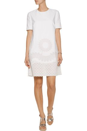 STELLA McCARTNEY Laycie embroidered organza and cotton-piqué mini dress