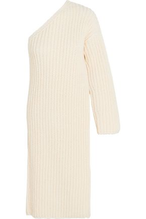STELLA McCARTNEY Asymmetric ribbed-knit wool-blend sweater dress