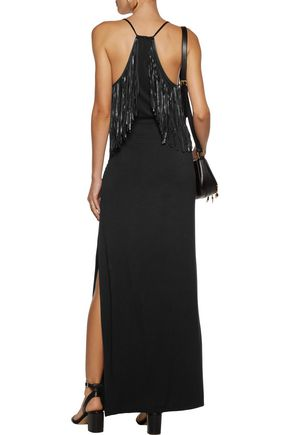 HAUTE HIPPIE So Lets Go Dancing fringe-trimmed stretch-knit maxi dress