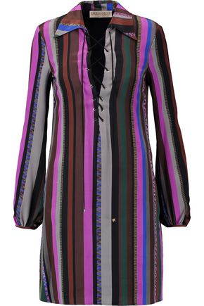 EMILIO PUCCI Lace-up printed silk crepe de chine mini dress