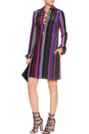 EMILIO PUCCI Lace-up printed silk crepe de chine mini dress