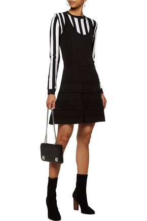 CARVEN Fluted stretch-knit mini dress